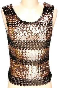 Dolce&Gabbana Sequin Embellished Striped Top Copper & Black