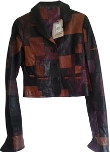Tommy Hilfiger Patchwork Leather Multicolor Leather Jacket