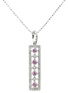 Other White Diamond & Pink Sapphire Pendant on a 16