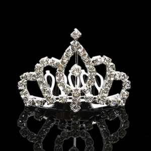Rhinestone Teardrop Crown Design Wedding Bridal Hair Comb Pin