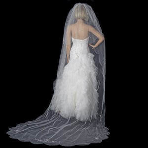 Elegance by Carbonneau White Long Double Layer Cathedral Length / with Crystal Accents V150c Bridal Veil