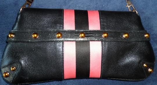 Gucci Studded Gold Enameled Tom Ford Black with hot pink Clutch