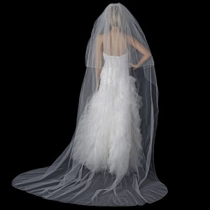 Elegance by Carbonneau White Long Double Layer Beaded Edge Cathedral Length V-151-c Bridal Veil