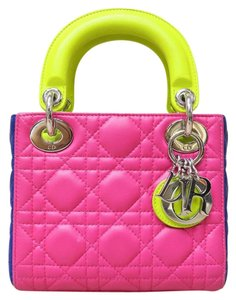 Dior Tote Limited Edition Yelloe Satchel in deeppink&blue