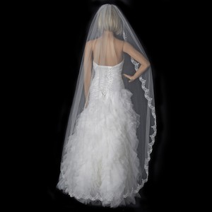 Elegance by Carbonneau White Long Chapel / Floor Length Lace Edge V-1610-1w Bridal Veil