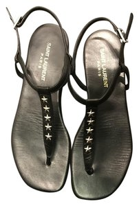 Saint Laurent Studded Leather Ysl black Sandals