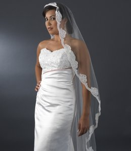 Elegance by Carbonneau White Long Chapel / Floor Length with Floral Pearl Embroidery Edge V 2014 1w Bridal Veil