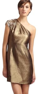 Elie Tahari Gold Metallic Jewel Crystal Stud Gold Dress