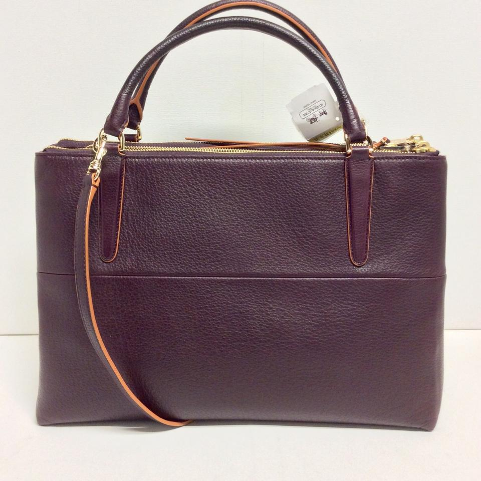 b922ab27 Coach Borough 32912 Edgepaint Oxblood Pebbled Leather Satchel 31% off retail