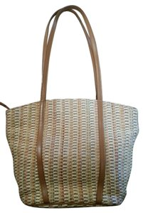 Saks Fifth Avenue Italy Vintage Straw Tote in Beige