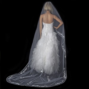 Elegance by Carbonneau White Long Single Layer Floral Cathedral Length V-882-1c-white Bridal Veil