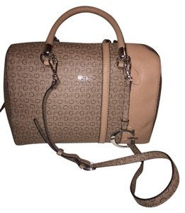 Guess Monogram Brand New With Tags Beige Satchel in Mocha Multi