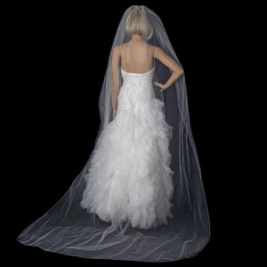 Elegance by Carbonneau White Long Pencil Edge Cathedral Length Vp-1c Bridal Veil