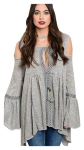 Other Open Bell Sleeve Bohemian Stub Knit Fuzzy Tunic