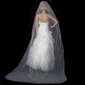Elegance by Carbonneau White Long Single Layer Satin Ribbon Edge Cathedral Length Vs-1c-18 Bridal Veil