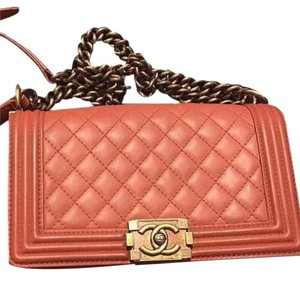 Chanel Quilted Leather Red Boy Shoulder Bag