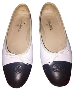 Chanel Leather White Flats