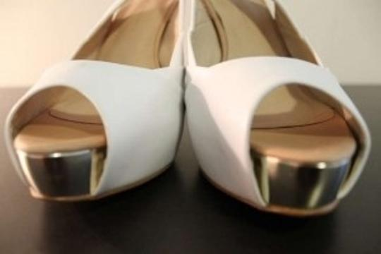 Zara Open Toe Adjustable Slingback Pumps White (with gold accent) Platforms