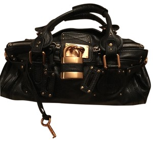 Chlo Satchel in Black/ Gold