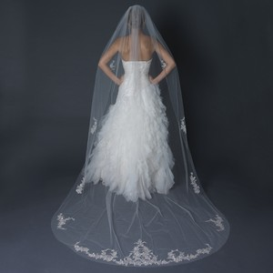 Elegance by Carbonneau Ivory Long Floral W/ Silver Embroidery Single Layer Cathedral Length Cut Edge V-1135-1c Bridal Veil