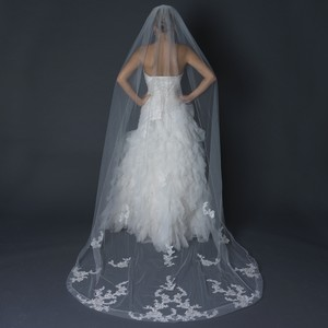 Elegance by Carbonneau Ivory Long Single Layer Floral Lace Cathedral Length Cut Edge Bridal Veil