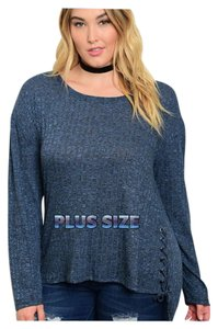 Other Lace Up Curvy Plus Size High Low Sweater Tunic