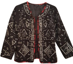 Notations Embroidered Metallic Black/Silver Jacket
