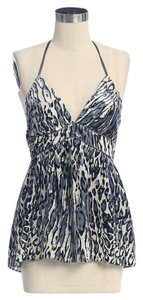 Jaloux Burnout Animal Print Halter Velvet Top gray