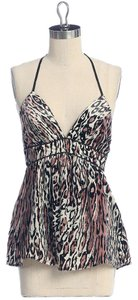 Jaloux Burnout Animal Print Halter Velvet Top BROWN