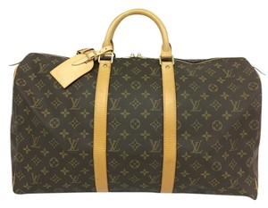 Louis Vuitton Lv Monogram Keepall 50 Canvas brown Travel Bag