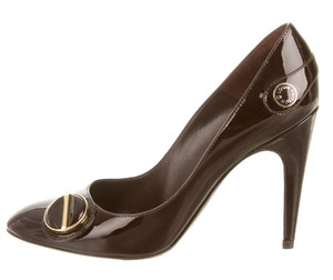 Louis Vuitton Patent Leather Round Toe Red, Gold, Brown Pumps