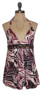 Jaloux Halter Jersey Rhinestone Embellished Top multicolor