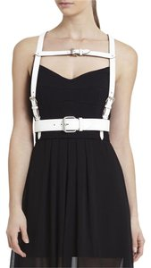 BCBGMAXAZRIA BCBG HARNESS BELT WHITE VEGAN LEATHER BUCKLE SIZE SMALL