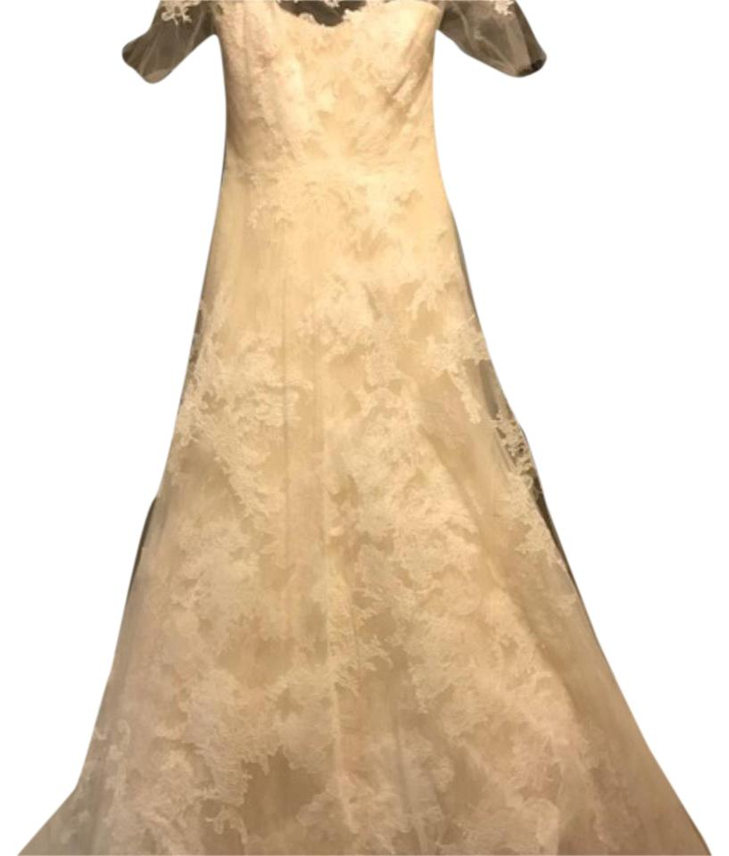 Vera Wang Bridal Cream Lace Esther Traditional Wedding Dress Size 6 S