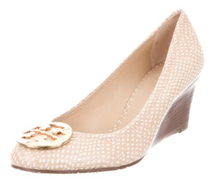 Tory Burch Hardware Patent Leather Reva Snakeskin Round Toe Beige, Ivory, Gold Pumps