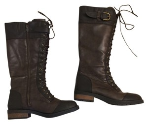 White Mountain Lace Up Zipper Combat Brown Boots