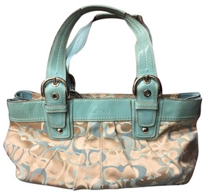 Coach Satchel in Teal And Tans