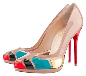 Christian Louboutin Patent Leather Round Toe Hardware Platform Astrogirl Beige, Blue, Gold Pumps