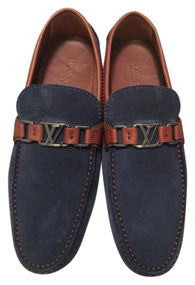 355c5a2d9ef9 Louis Vuitton Navy Men s Loafers Moccasin Driving Suede Brown Flats. Size  US  8.5 Regular (M ...
