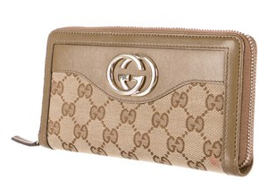 Gucci Brown tan Guccissima canvas Gucci zip-around wallet