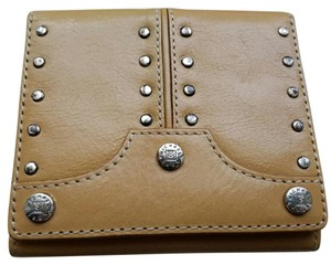 Michael Kors Trifold Leather Wallet Studded Wristlet in Tan