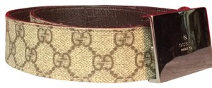 Gucci Gucci Large Fully Engraved Buckle On GG canvas And Leather Belt Strap