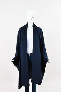 Brioni Navy Wool Draped Cape