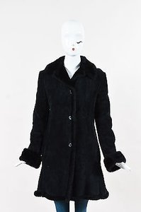Other Steve By Searle Suede Shearling Fur Paneled Long Sleeve Coat
