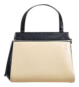 Céline Black Leather Medium Edge Single Handle Toe Tote in Beige