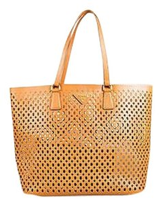 Prada Saffiano Fori Leather Shopping With Pouch Tote in Caramel