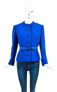 Valentino Valentino Couture Cobalt Blue Crepe Belted Button Belted Cropped Suit Jacket