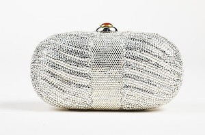 Judith Leiber Crystal Embellished Red Push Lock Silver Clutch