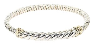VAHAN Alwand Vahan Sterling Silver 14k Yellow Gold Twisted Bangle Bracelet