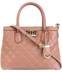 Michael Kors Hannah Medium Quilted Leather Satchel in Dusty Rose